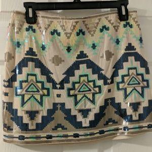 Stretch sequin mini skirt